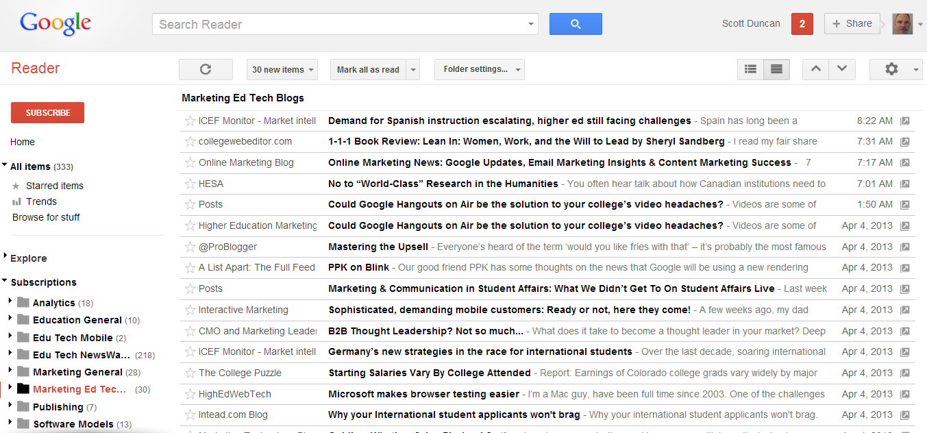 google reader interface